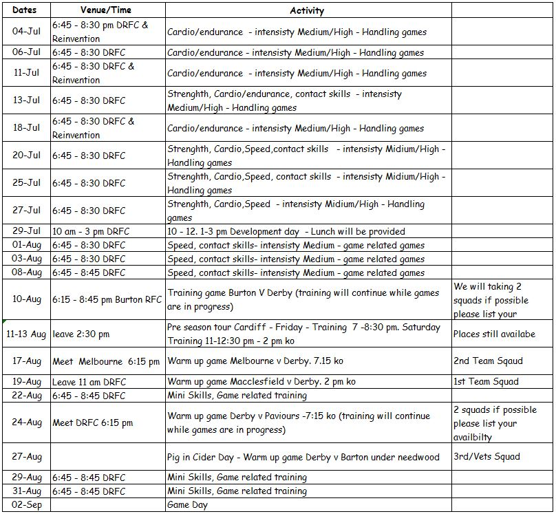 derby rfc pre-season training dates 2017